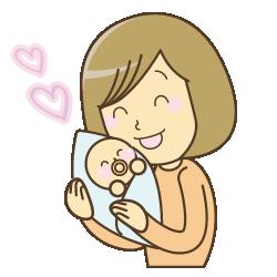 赤ちゃんを抱っこして喜んでいる様子